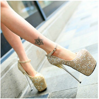 Wholesale 2014 sweet and sexy sparkling rhinestones Hentian nightclub ultra high heels shoes CM Item