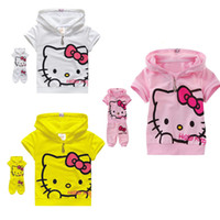 Unisex Summer Short Wholesale - 2014 Summer clothing set baby girl KT short sleeve set children suit baby sport suit