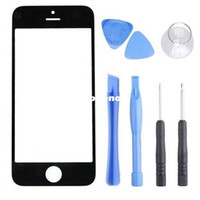 Cheap Wholesale-407-Wholesale-407-Black Front Screen for iPhone 5 5G 5C Outer Glass Lens Cover Replacement parts with Opening Tools RCD00461