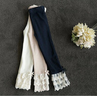 Wholesale 2014 Kids Children s Clothes Cotton Girls Solid Leggings Tights Pencil Pant Culottes Lace Pearl White Pink Dark Blue Girl Clothing K0284