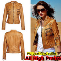 Wholesale 2014 New Fashion Winter Explosion Models High end Custom Women Outwear Short Paragraph Slim Leather Jackets SF07
