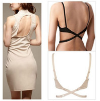 Wholesale Low Back Bra Strap Converter Backless V Conversion Solution set Black White Beige Bra Extender
