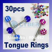 Cheap Mixed lots 30 crafted Acrylic tongue Nipple Rings Ball Piercing Barbell body jewelry fashion