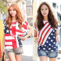 Wholesale spring short sleeved T shirt tide plus size loose blouse lovely ladies shirt bat american flag t shirt women clothing