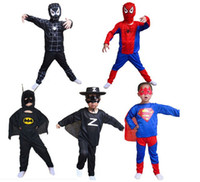Wholesale Children s Halloween costume spider man tights spider man spiderman suit superman Batman Zorro clothes children clothing S M L Size