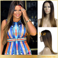 Cheap 2014 fashion unprocessed human hair wigs ,#1#6 straight hair ombre full lace wig & two tone lace front wig with baby hair