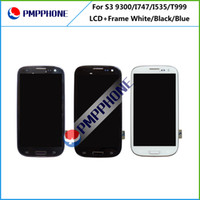 Wholesale 5 For Samsung Galaxy Siii S3 i9300 White black blue Touch LCD Screen Digitizer Frame Replacement Free DHL ship