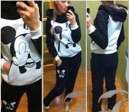 Wholesale Female Tracksuits autumn winter women s Sportswear Suit Mickey Mouse print women s sport hoodies Sweatshirts women s casual clothing