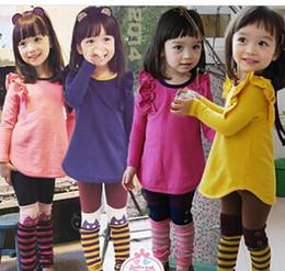 Wholesale New Arrival Children Clothing Set Long Sleeve Fly T Shirt Dress Stripe Leggings Girls Set Kids Tight Pants Suit For Spring Autumn
