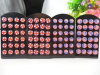 Wholesale 12Pairs Set USA Flag Stud Earrings UK Earrings World Cup Soccer Resin Epoxy Stud Earrings American Britain New Fashion Jewelry For Women