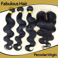 Wholesale Fabulous Peruvian Virgin Hair Body Wave one Middle Part Lace top closure with bundles Unprocessed Human Hair Weave Extension weft