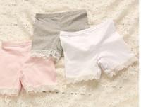 baby grey leggings - Korean Girls Summer Leggings Pure Cotton Splicing Lace Short Leggings Tights Pretty Children Shorts White Pink Grey Size