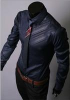 Wholesale Trendy Design Mens Shirts Luminous Fabrics Clothing Casual Slim Fit Stylish Dress Shirts Korea Imported Fabrics Dark Grain Twill Men s Long