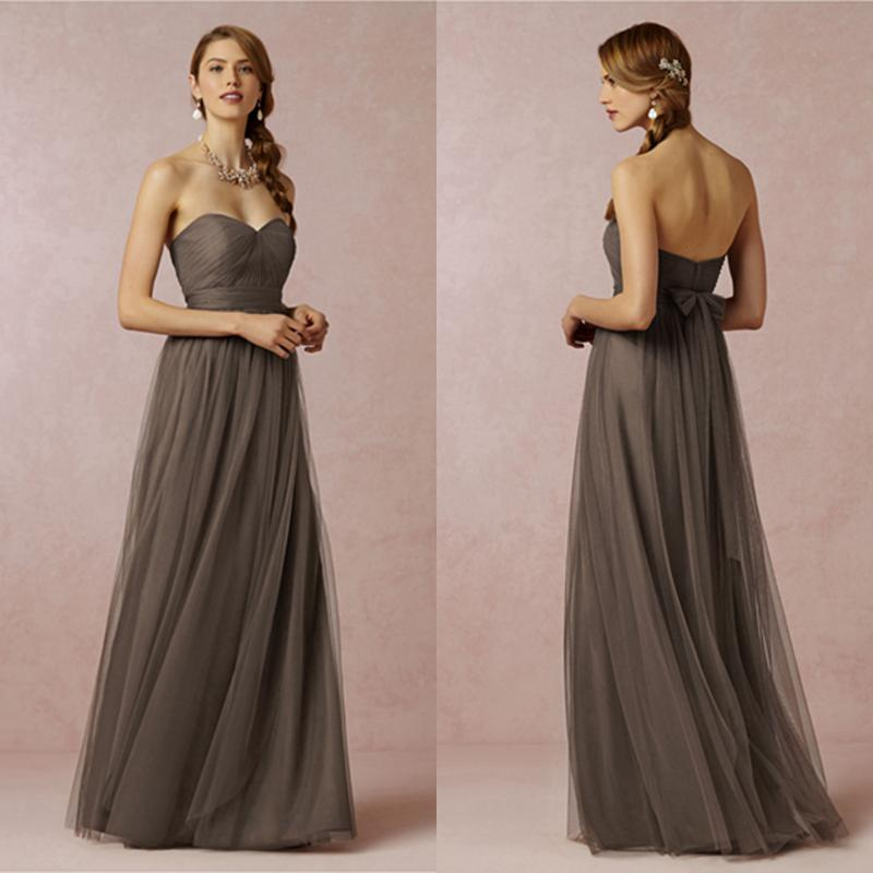 Warm Mocha Floor Length Bridesmaid Dresses Soft Tulle Prom Dresses ...