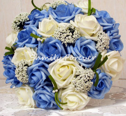 Wholesale romantic cm width ivory and blue popular hot selling wedding bouquet bridal throw bouquet bridesmaid