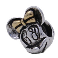 Wholesale Fashion Mickey With Gold Bowknot Sterling Silver Pandora Beads For Necklace European Charms DIY Bracelets Snake Chain
