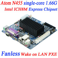 Wholesale best mini itx motherboard with Intel Atom N455 processor single core G ICH8M Express Chipset GMA3150 graphics core COM LPT
