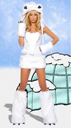 Furry Fasching Cat Girl White Wolf Polar Bear Frisky Halloween Cosplay Costume Outfit Fancy Dress For Woman Sexy Halloween Costumes Full Set