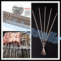 Wholesale free ship cm long BBQ stainless steel barbecue grill needle flat needle grilled lamb skewers grill prod BBQ tool