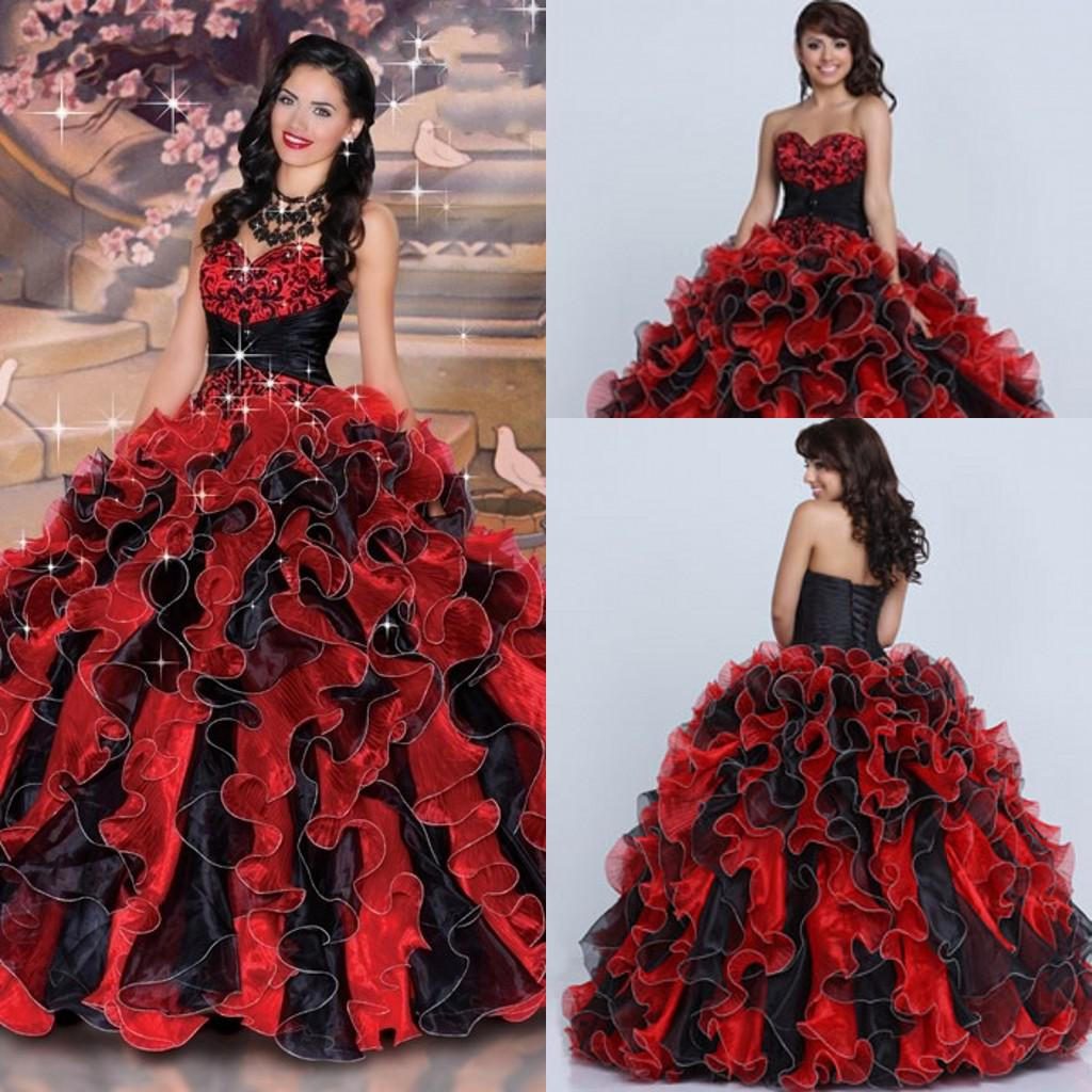 Sparkle Fashion Red And Black Sweetheart Ruched Beads Crystal Lace ...