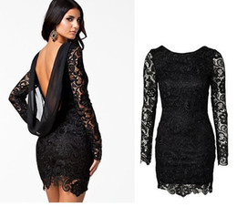 Wholesale 2014 Fashion black red Autum style Lace long sleeve low cut drape backless dress lace dress party dress