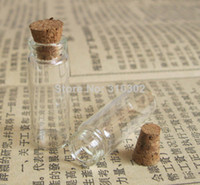 Cheap Free Shipping - Wholesale 50Pcs lot Mini Glass Bottle Vials,2.5ml Charms Pendants With Cork