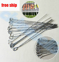 Wholesale 38cm BBQ stainless steel barbecue grill needle flat needle grilled lamb skewers grill prod BBQ tool free ship