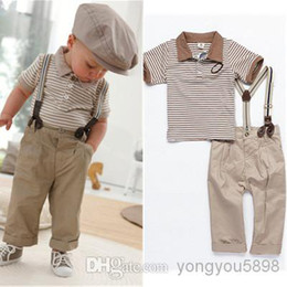 Wholesale High quality new Boys Baby Clothes Toddler Set Gentleman Overalls Outfit Top Bib Pants Boy striped suit kids clothes