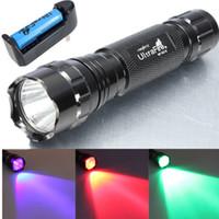 Cheap 5W Ultrafire WF-501B CREE LED Flashlight Torch Lamp Red Green UV Light + 1*18650 + Charger Free Shipping