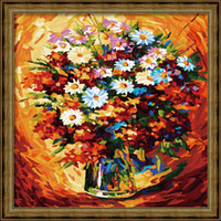 Wholesale JIUJIU DIY digital oil painting by numbers on canvas the picture unique gift X40cm Daisy Warm paint by numbers