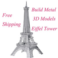 Wholesale 3D DIY Eiffel Tower Model Jigsaw Metal Puzzle Assembled Intellegent Kids Toy