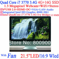 Cheap 16:9 WLED all in one desktop computer with Intel H61 Quad core i7 3770 3.4Ghz 8 Threads cpu Intel HD 4000 Graphic 4G RAM 16G SSD