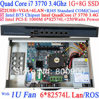 Cheap router mikrotik 1U server with six intel PCI-E 1000M 82574L Gigabit LAN Intel Quad-Core i7 3770 3.4G Mikrotik ROS 1G RAM 8G SSD