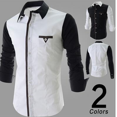 2014 Korean Fashion Men Slim Fit Dress Shirts Long Sleeve Splice ...