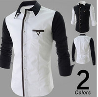 Wholesale 2014 Korean fashion men slim fit dress shirts long sleeve splice designer casual top shirt male shirt men s clothes clothing