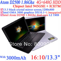 Wholesale NEW Inch Laptop Notebook Computer with perfect visual x800 enjoyment Intel Atom D2500 G G RAM G HDD