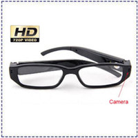 Wholesale 720 fps Camera Eyewear Ultra thin flat glasses on the left lens Hidden Spy SunGlasses camera Dvr Video Audio Recorder Mini DV