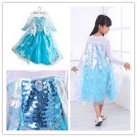 Wholesale summer dress girl party dress anna princess costume baby girls elsa dress tutu new frozen dress