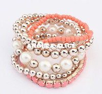 Wholesale 2014 Fashion Candy Color Pearl Rose Flower Multilayer Charm Bracelet amp Bangle For Women Fashion Jewelry