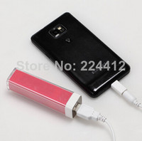 Cheap 4 Colors Lipstick 2200mAh Power Bank Portable external battery charger for SAMSUNG HTC Huawei ZTE smartphones free shipping