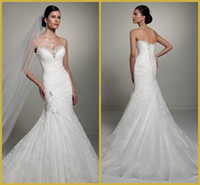Wholesale Delicate White Sweetheart Mermaid Trumpet Floor Length Sweep Lace Bridal Gowns Wedding Dresses A1