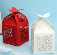 Wholesale 50pc Laser Cut Box Wedding Favor Gifts Butterfly Boxes with Ribbon Bonbonniere Paper Candy Box Z206