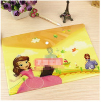 Wholesale New Stock cm Case Bear Smile Pink Sophia Students Supplies bags Kids Pockets Pencil Cases Button Pin Files Pocket Bags D32