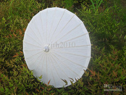 Wholesale White Paper Parasols Children Umbrellas Handmade Diameter inch Bamboo Handle DIY Painting Small Umbrellas