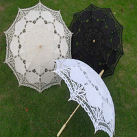 lace parasol umbrella - New lace parasols Classical wedding parasol Fancy bridal accessories White black and ivory color Long handle Non automatic Drop shipping