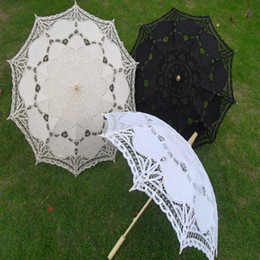 Wholesale New lace parasols Classical wedding parasol Fancy bridal accessories White black and ivory color Long handle Non automatic Drop shipping