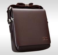 al por mayor men messenger bag-Bolso del mensajero del bolso de hombro del ordenador portátil de la cartera del negro Brown del bolso de cuero genuino de los hombres del diseñador de la marca de fábrica tamaño 4