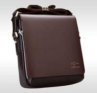 Gli uomini del progettista di marca del cuoio genuino borsa nera Brown computer portatile della cartella Shoulder Bag Messenger Bag 4 dimensioni