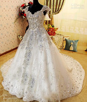Cheap Wholesale - Sharking Amazing Crystle Beaded Cap SLeeve Alencon Lace Ball Gown Zuhair Murad Wedding Dresses White Luxury Cathedral Bridal Gow