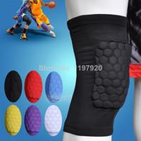 Cheap Wholesale-407-Honeycomb Foam Pad Crashproof Antislip Basketball Leg Knee Short Sleeve M L XL